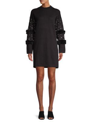 Allison New York Faux Pearl-Embellished Faux Fur Sweater Dress