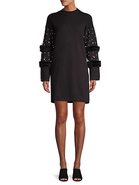 ALLISON NEW YORK   Faux Pearl-Embellished Faux Fur Sweater Dress   Goxip