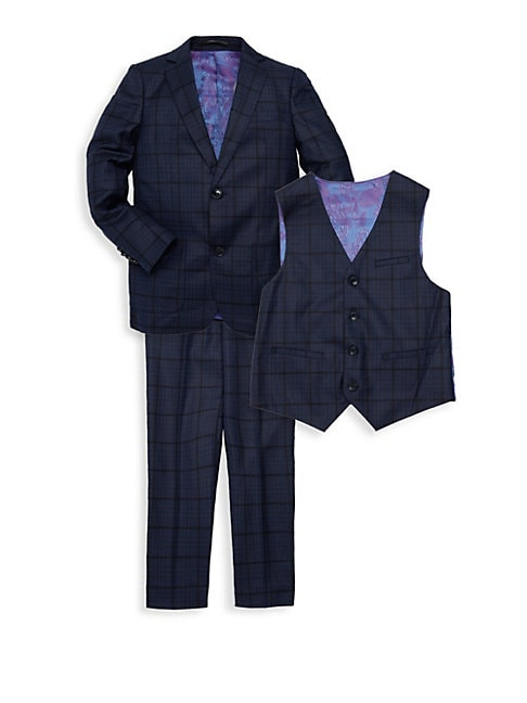 Little Boys  Boys 3Piece Checker Jacket Vest  Pants Suit Set