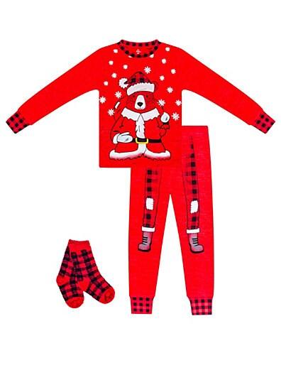 Petit Lem Little Boy s Santa Bear 3-Piece Cotton Pajama Top 573e21075