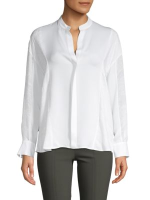 f77f342eb97cd6 Vince Mixed Media Collarless Silk Blouse In Optic White