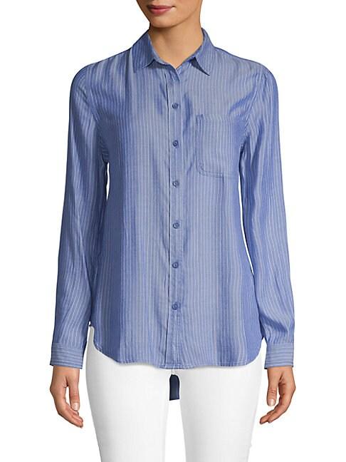 BEACH LUNCH LOUNGE | Striped Button-Down Shirt | Goxip
