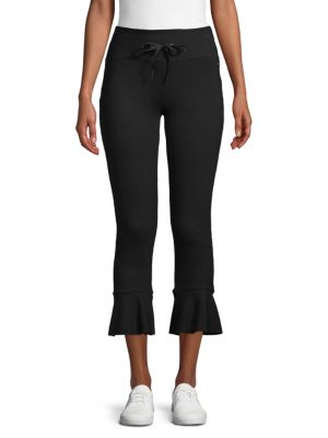 Betsey Johnson Slim-Fit Ruffle-Hem Terry Pants