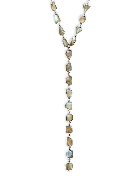 ADORNIA FINE JEWELRY | Sterling Silver Labradorite Y-Drop Necklace | Goxip