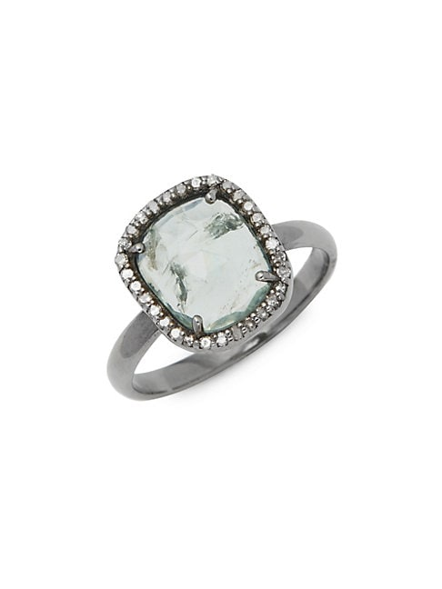 ADORNIA FINE JEWELRY | Sterling Silver Blue Tourmaline & Diamond Halo Ring | Goxip