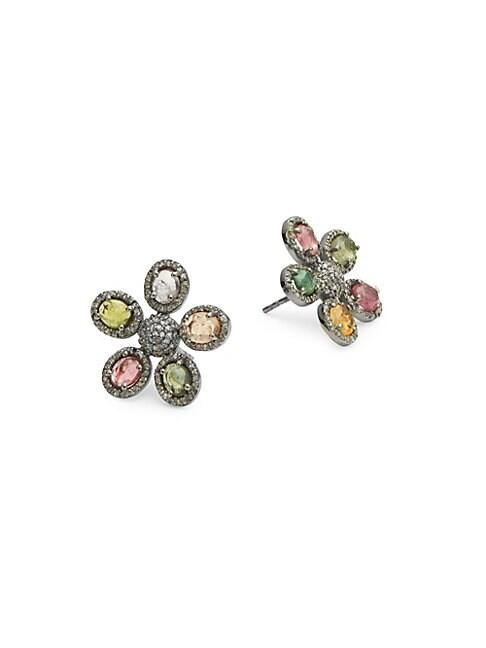 ADORNIA FINE JEWELRY | Mixed Tourmaline Flower Diamond Stud Earrings | Goxip