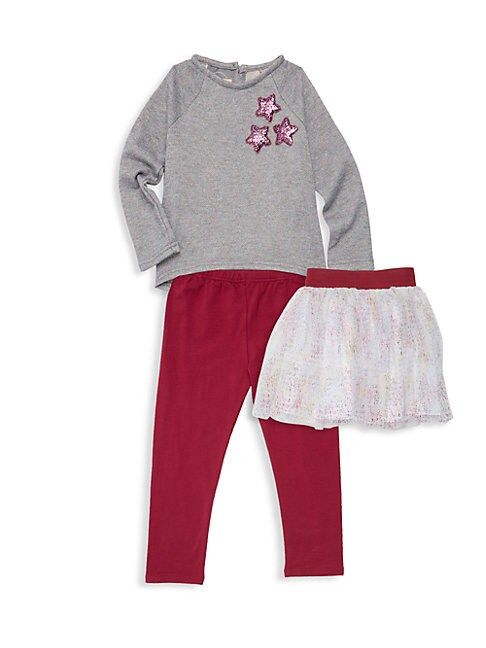 Little Girls 3Piece Glitter Star Legging Skirt and Tee Set
