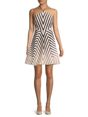 Halston Heritage Striped Fit-&-Flare Dress