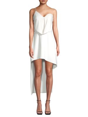 Halston Heritage Draped One-Shoulder High-Low Dress