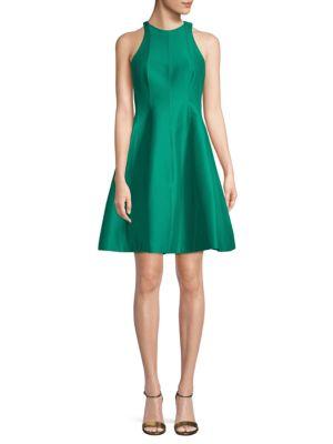 Halston Heritage Sleeveless Cotton & Silk Fit-&-Flare Dress