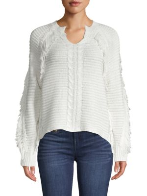 John & Jenn Petra Cable-Knit Fringe Sweater