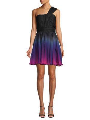 Halston Heritage One-Shoulder Shirred Chiffon Ombre Mini Dress