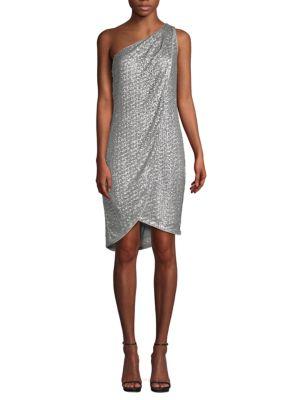 Halston Heritage Sequin-Embellished One-Shoulder Dress
