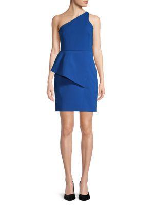 Halston Heritage Asymmetrical One-Shoulder Sheath Dress