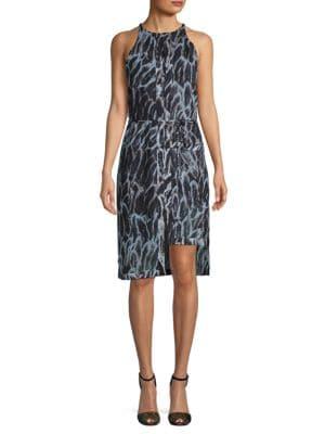 Halston Heritage Sleeveless Printed Shift Dress