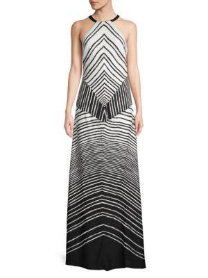 Halston Heritage Striped Column Gown