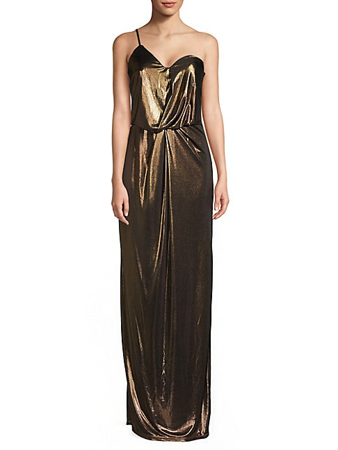 Lame Asymmetrical One-Shoulder Column Gown, Bronze