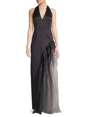 Halston Heritage Ruffled Halterneck Gown