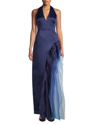Halston Heritage Ombre Ruffle Halter Gown