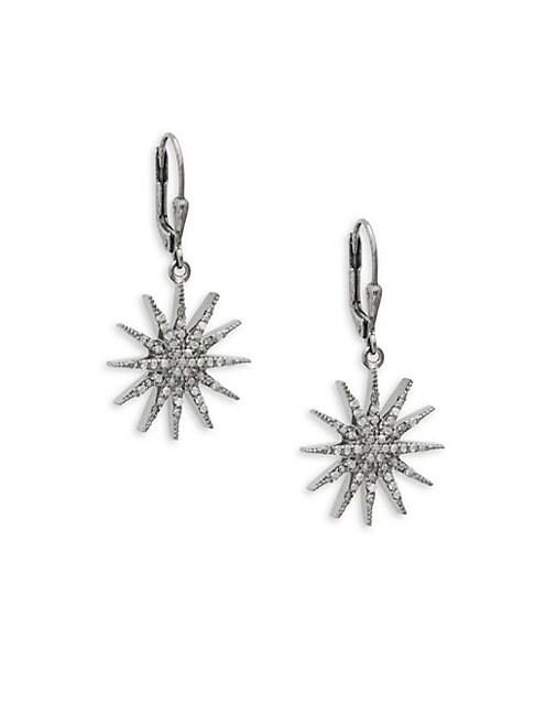 ADORNIA FINE JEWELRY | Sterling Silver Diamond Starburst Drop Earrings | Goxip