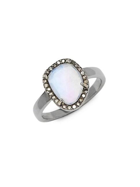 ADORNIA FINE JEWELRY | Mini Sasha Sterling Silver, Moonstone & Diamond Ring | Goxip