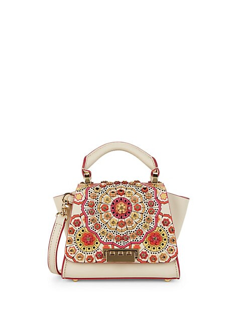 ZAC ZAC POSEN | Floral Leather Top Handle Bag | Goxip