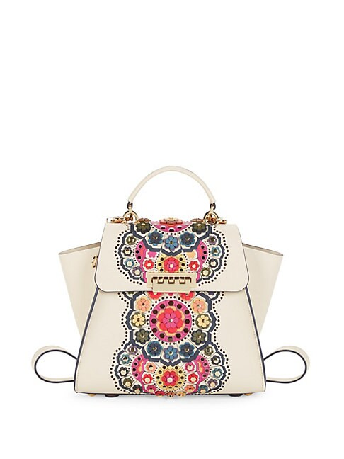 ZAC ZAC POSEN | Leather Floral Applique Satchel Backpack | Goxip