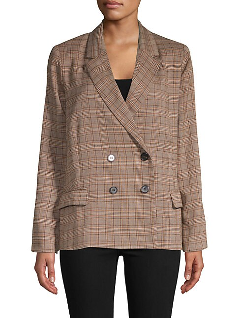 LUCCA COUTURE Blake Double-Breasted Plaid Blazer in Brown Plaid