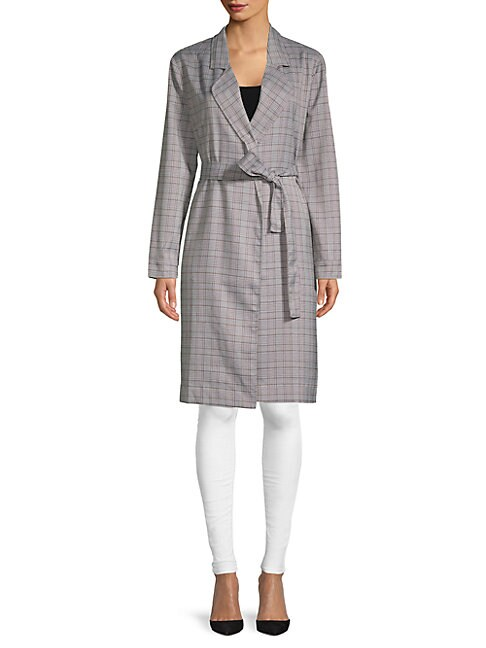 LUCCA COUTURE Charlee Plaid Trench Coat in Grey Plaid