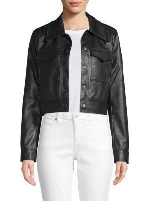 Bagatelle Cropped Faux Leather Jacket
