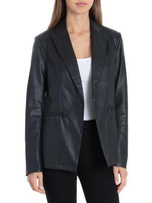 Bagatelle Faux Leather One-Button Blazer