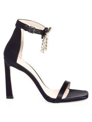 bcffa67a01bf Stuart Weitzman Women S 100Fringesquarenudist Satin Embellished High-Heel  Ankle Strap Sandals In Black
