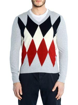 ELEVENTY Diamond V-Neck Sweater in Grey Multi