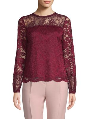 Laundry By Shelli Segal Lace Long-Sleeve Top
