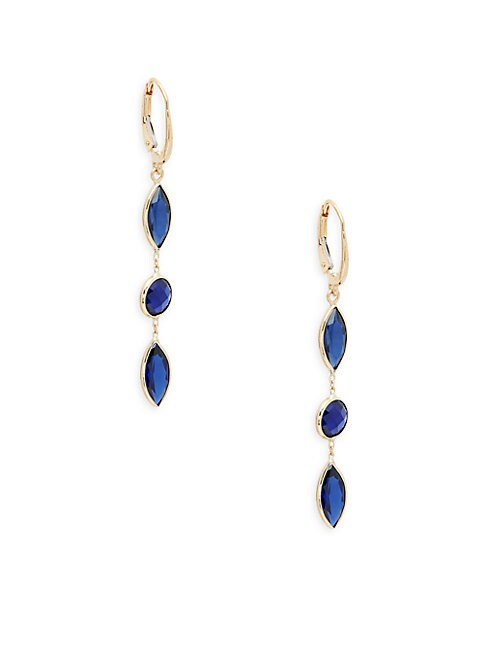 SAKS FIFTH AVENUE | 14K Yellow Gold & Blue Sapphire Earrings | Goxip
