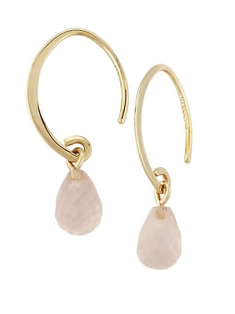 SAKS FIFTH AVENUE | 14K Yellow Gold & Rose Quartz Wire Earrings | Goxip