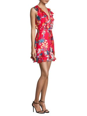 SALONI Cece V-Neck Sleeveless Floral-Print Ruffled Cocktail Dress in Coral Begonia