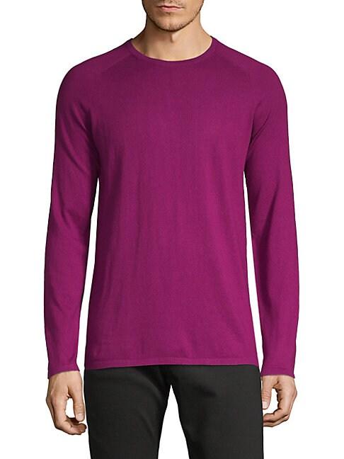 HUGO HUGO BOSS Crewneck Cotton, Silk & Cashmere Sweater in Dark Pink