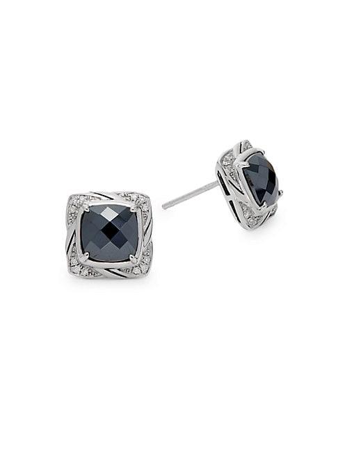EFFY | 925 Sterling Silver, Hematite & Diamond Stud Earrings | Goxip