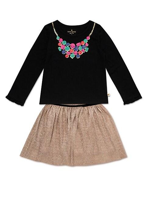 Little Girls 2Piece Metallic Knit Skirt Set