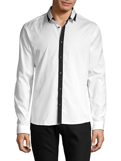 HUGO HUGO BOSS Long-Sleeve Button-Down Shirt in White
