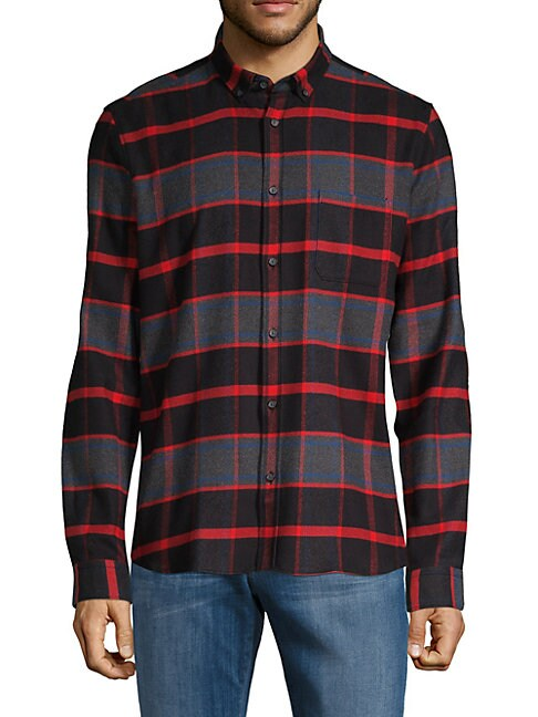 HUGO HUGO BOSS Plaid Straight-Fit Button-Down Shirt in Red