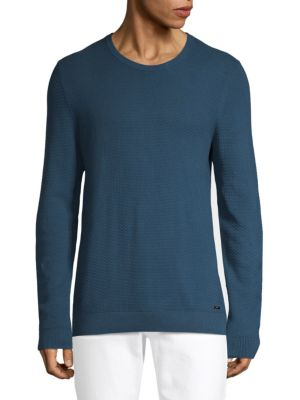 HUGO HUGO BOSS Textured Cotton Sweatshirt in Navy