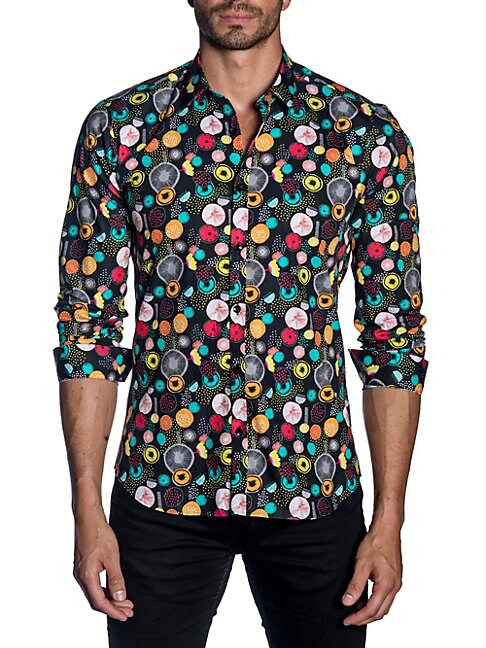 Jared Lang Multicolored Spread Collar Trim-Fit Button-Down Shirt