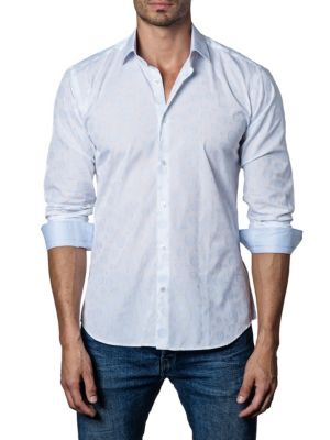 Jared Lang Circles Trim-Fit Button-Down Shirt