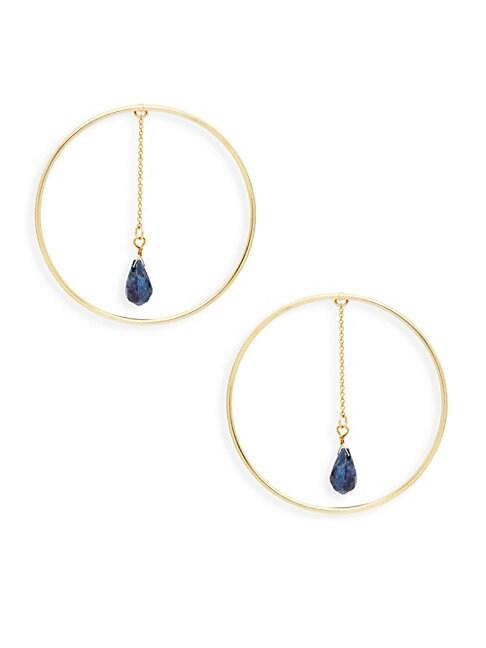 AVA & AIDEN | Goldtone Lapis Chain-Hoop Earrings | Goxip