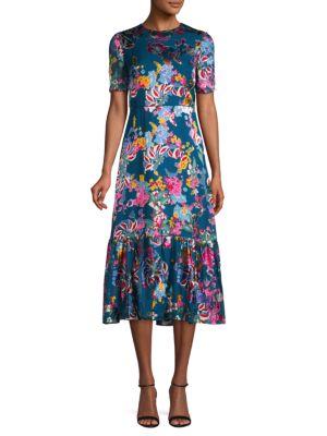 Saloni Lorna Floral A-Line Midi Dress