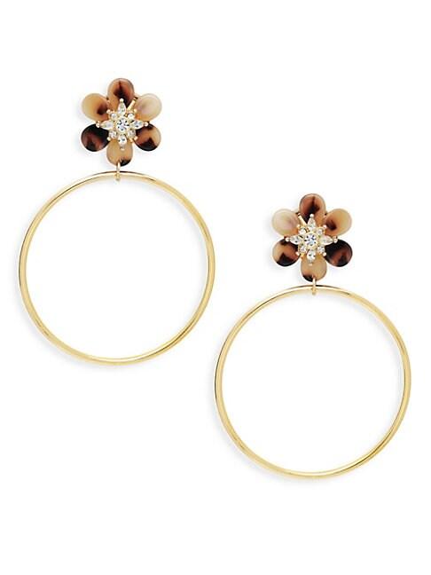 AVA & AIDEN | Goldtone Crystal Floral Hoop Drop Earrings | Goxip