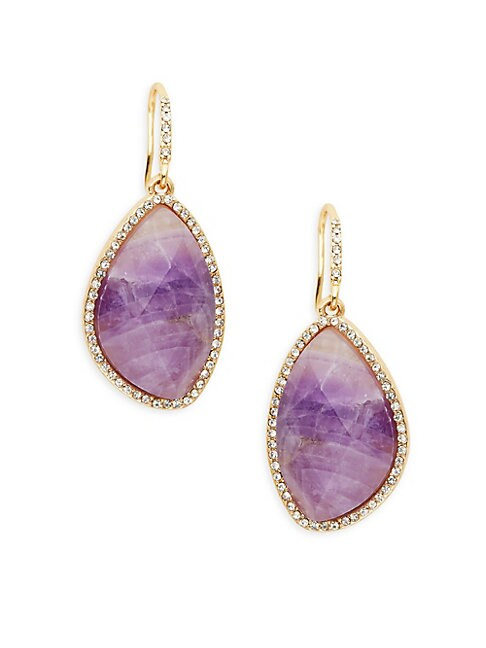Amethyst & Crystal Drop Earrings