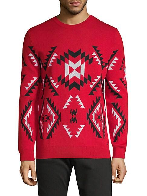 HUGO HUGO BOSS Geometric-Print Wool Sweater in Red